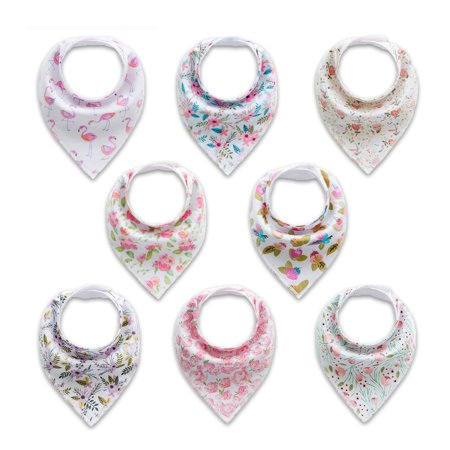Baby Bandanas (Unisex 8-Pack Baby Bibs Bandana Drool Bibs for Drooling and Teething Boys Girls)