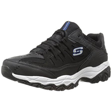 Skechers Sport Men's Afterburn Memory Foam Lace-Up Sneaker, Black/Royal, 13 M](Converse Clearance Store)