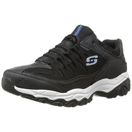 Skechers Sport Men's Afterburn Memory Foam Lace-Up Sneaker, Black/Royal, 9.5 (Habitat Sports Shoe Store)