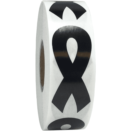 Black Awareness Ribbon Stickers 2 Inch 500 Total Adhesive Labels (Black Stickers)