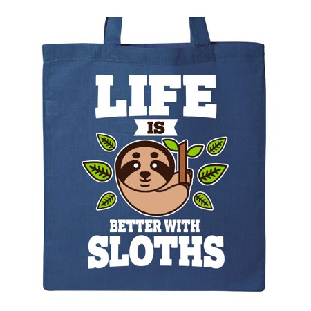 Life is Better with Sloths Tote Bag Royal Blue One Size - Royal Blue Bag