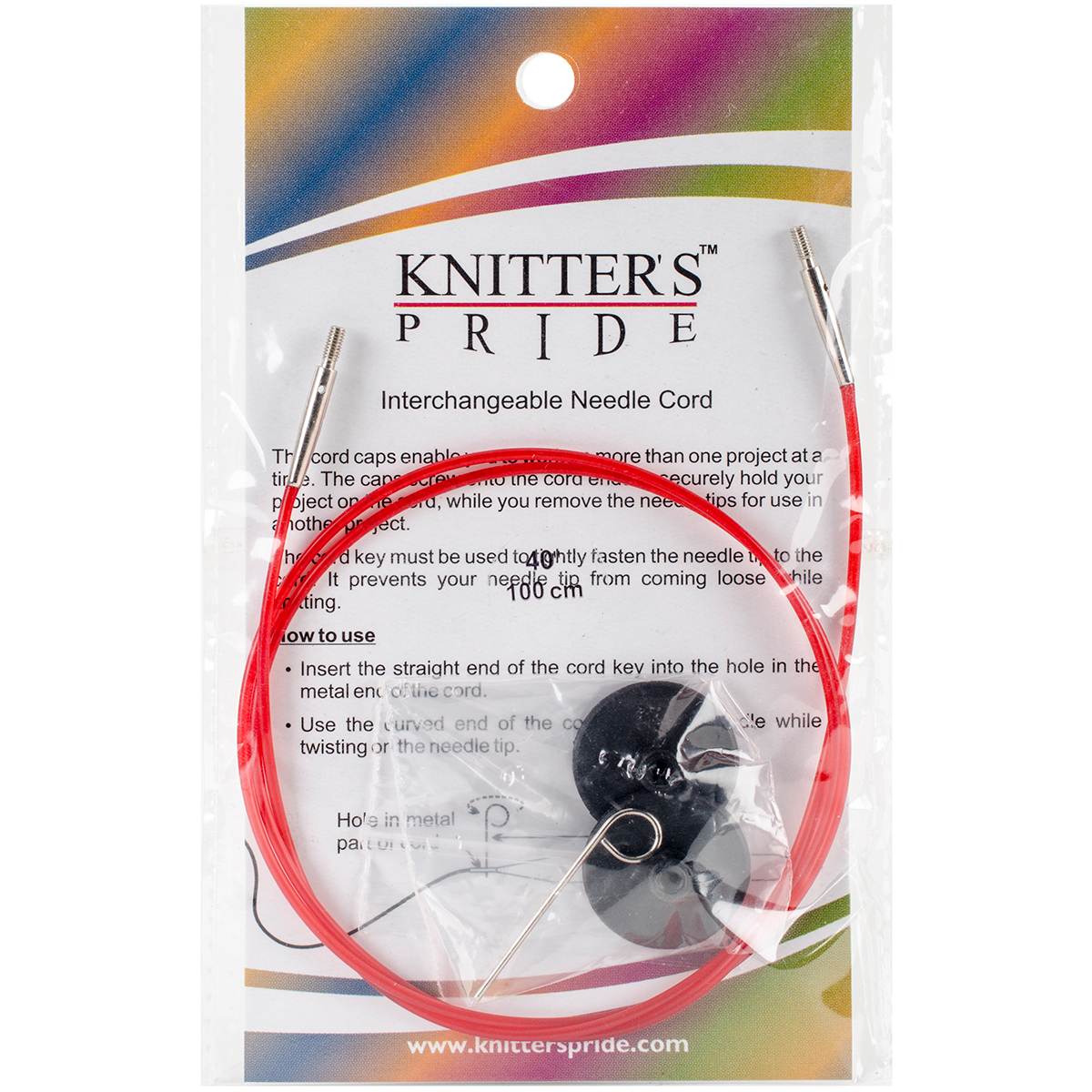 "Knitter's Pride-Interchangeable Cords 30"" (40"" w/ tips)-Red"