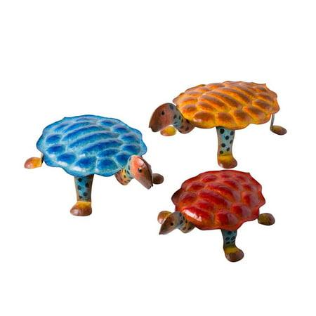 Colorful Metal Turtle Garden Sculptures, Set of 3 ()