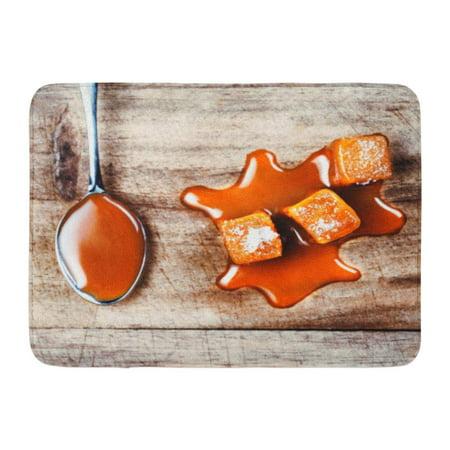 - GODPOK Candy Liquid Homemade Caramel Sauce Flowing on Candies Wooden Board Close Up Butterscotch Toffee Rug Doormat Bath Mat 23.6x15.7 inch