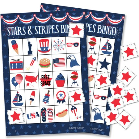 Patriotic Stars and Stripes Bingo Game for Kids, 24 Players (Bingo Players Halloween 2017)