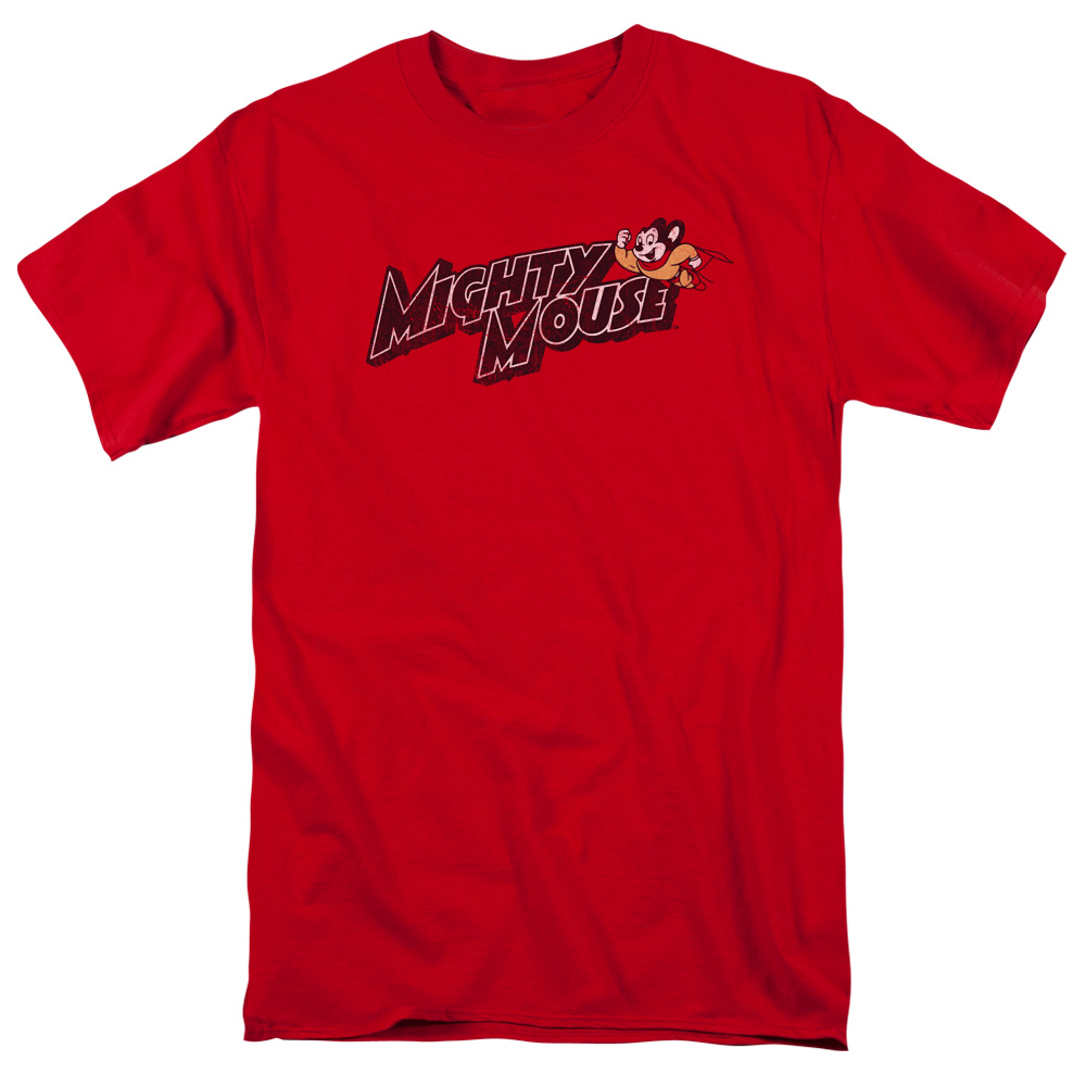 Mighty Mouse Might Logo Mens Short Sleeve Shirt