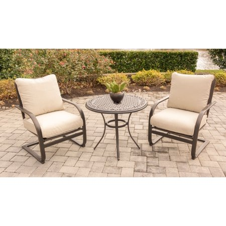 "Hanover Summer Nights 3-Piece Chat Set with Two C-Spring Chairs and 32"" Cast-Top Table"