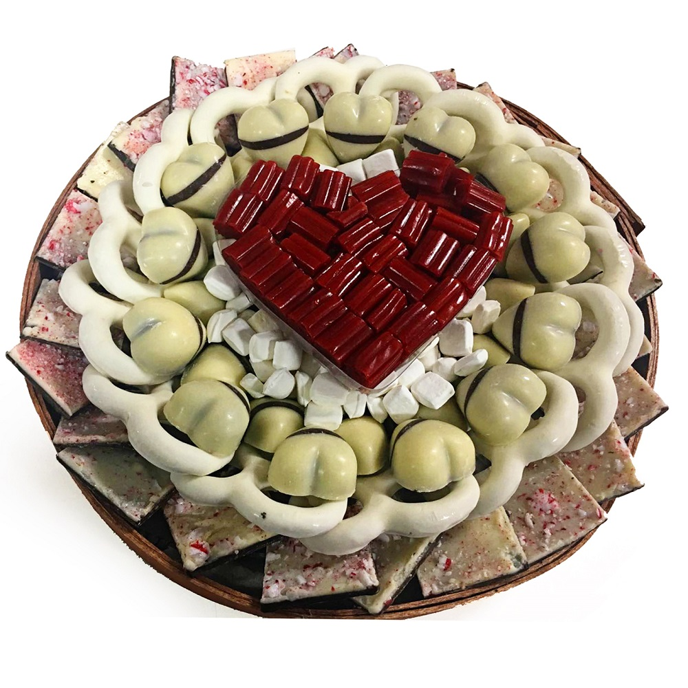 The Nuttery Valentines Day Premium White Chocolate and Heart Candies Circular Gift Tray Set