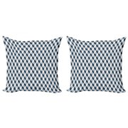 Retro Throw Pillow Cushion Cover Pack of 2, 3D Style Cubes Squares Pattern Geometric Old Fashioned Abstract Futuristic, Zippered Double-Side Digital Print, 4 Sizes, Blue Pale Blue White, by Ambesonne