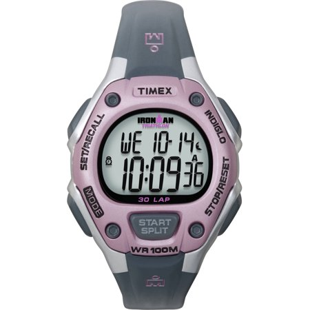 Timex Women's Ironman Classic 30 Mid-Size Gray/Pink Resin Strap Watch