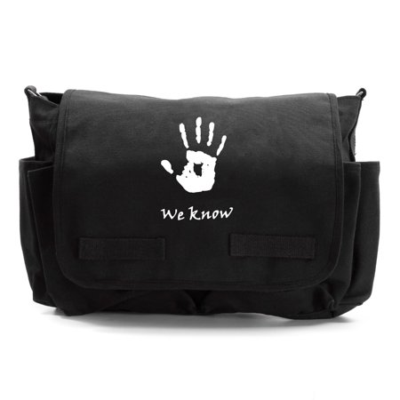 Skyrim We Know Army Canvas Messenger Shoulder Bag (We Know The Sound Of Two Hands Clapping)