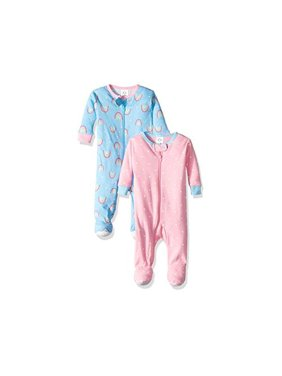 Gerber, Baby Girls, Footed Tight-Fit Unionsuit Pajamas, 2Pk