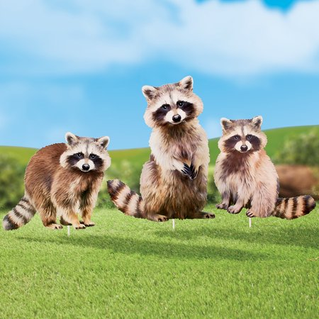 Collections Etc Realistic Raccoon Metal Yard Stakes with Different Poses - Set of 3, Outdoor Decorative Accessories
