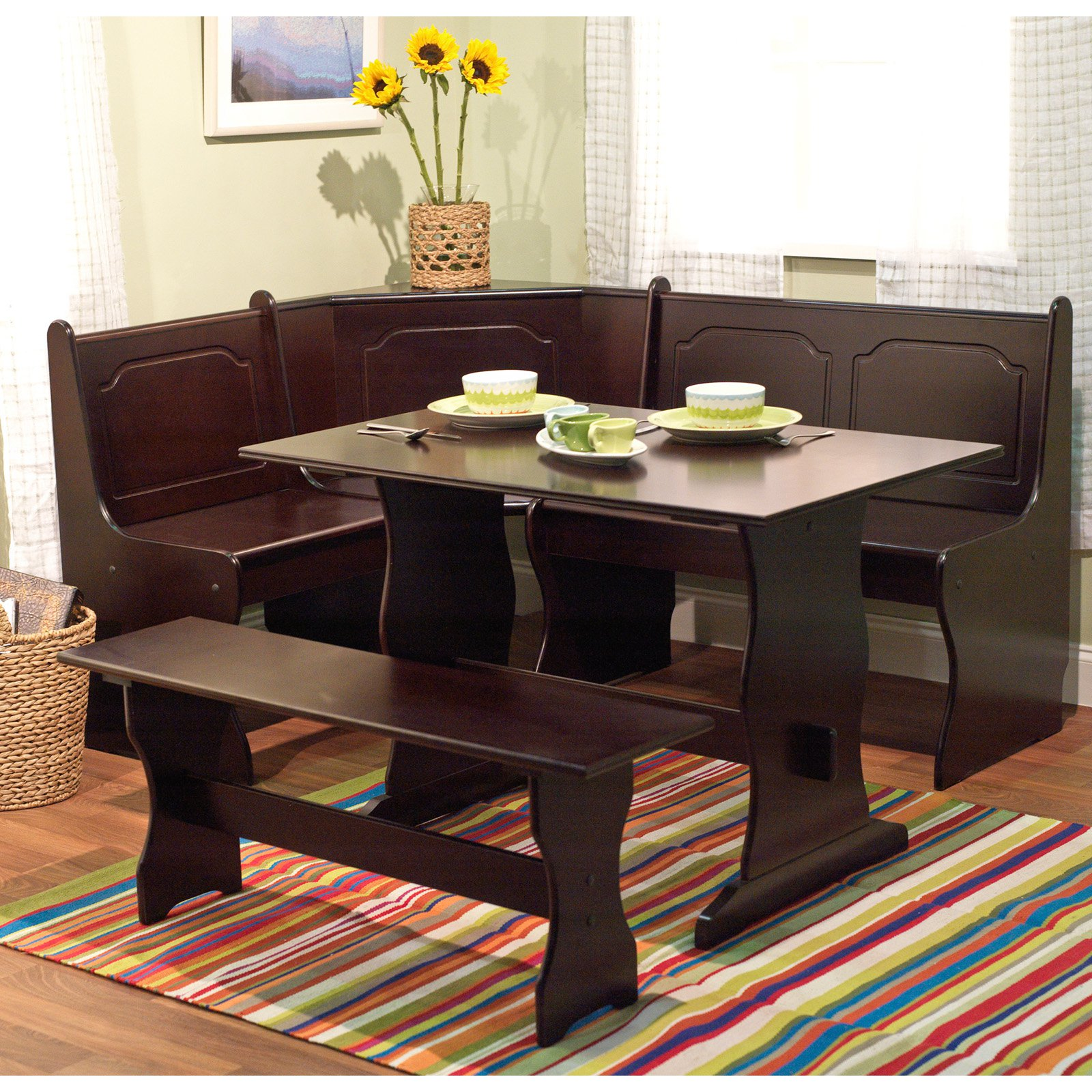 3 Piece Breakfast Nook Dining Set Corner Booth Bench Kitchen Table For 6 Person
