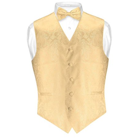 Vest Bow Tie (Men's Paisley Design Dress Vest & Bow Tie GOLD Color BOWTie Set for Suit)