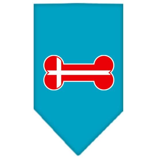 Image of Mirage 66-12 SMTQ Bone Flag Denmark Screen Print Pet Bandana Turquoise Small