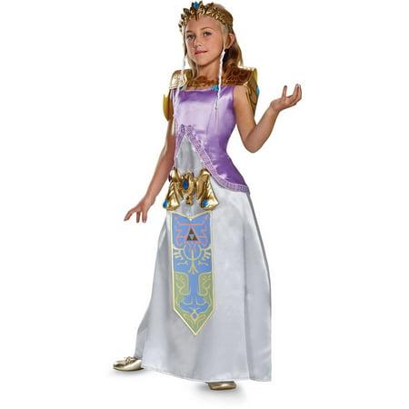 Legend Of Korra Halloween Costumes (Girl's Zelda Deluxe Halloween Costume - The Legend of)