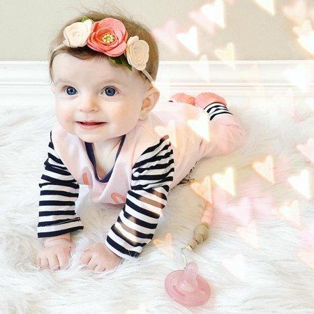 Cute Newborn Baby Girls Striped Warm Bodysuit Romper Jumpsuit Playsuit Outfit Clothes 0-24M - image 2 de 5