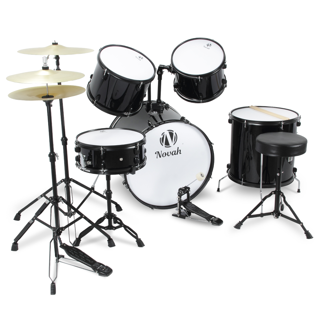 Novah Premium Full Size Complete Adult 5 Piece Drum Set Cymbals
