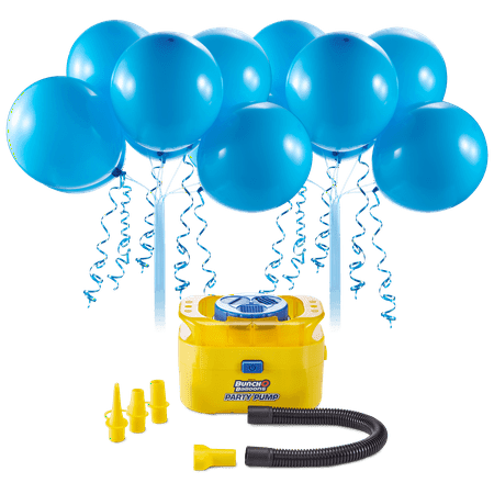 Bunch O Balloons Portable Party Balloon Electric Air Pump Starter Pack, Includes 16ct 11in Self-Sealing Blue Latex Balloons
