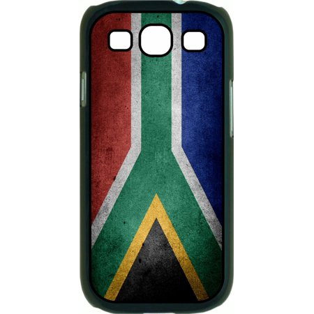 South African Flag Print Design Soft Black Rubber Case with a Flip Cover Compatible with the Samsung Galaxy s3 i9300 Phone