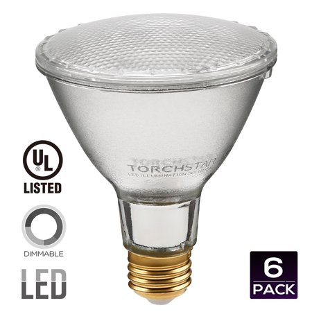 TORCHSTAR Dimmable PAR30 LED Light Bulb, 11W (75W Equivalent) LED Spot Light, Medium Screw Base (E26), 5000K (Daylight Glow), UL-Listed, 3 YEARS WARRANTY, Pack of 6