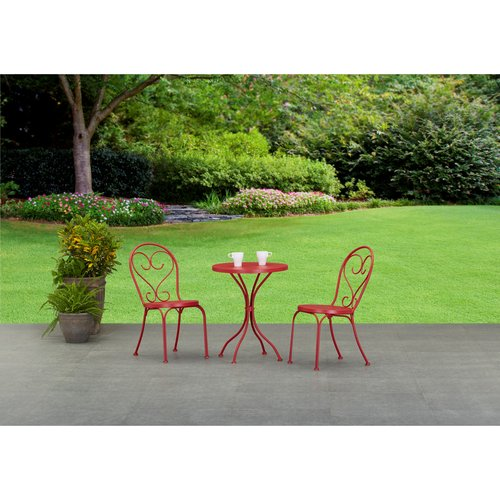Mainstays 3-Piece Small Space Scroll Outdoor Bistro Set, Seats 2