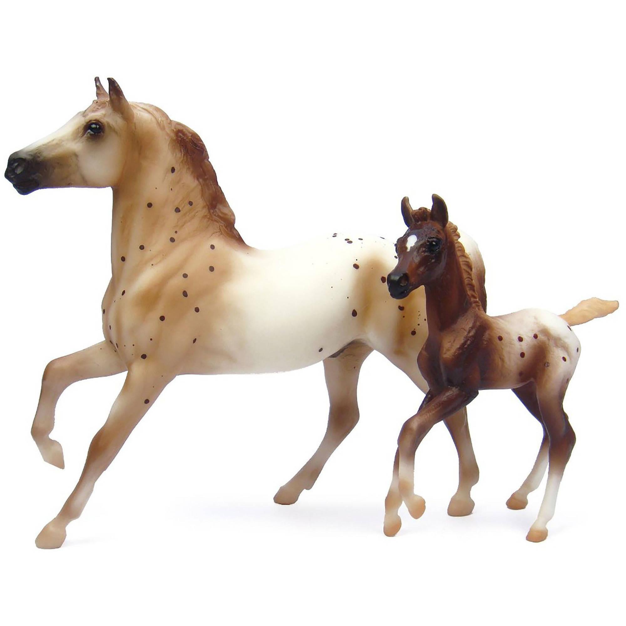 Breyer Classics Chestnut Semi-Leopard Appaloosa Stallion and Chestnut Blanket Appaloosa Foal Model Horses