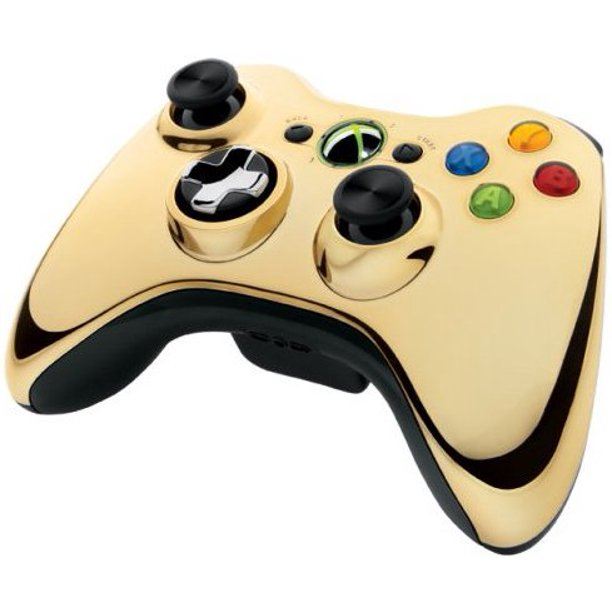 Xbox 360 Wireless Controller Gold Chrome Walmart Com Walmart Com