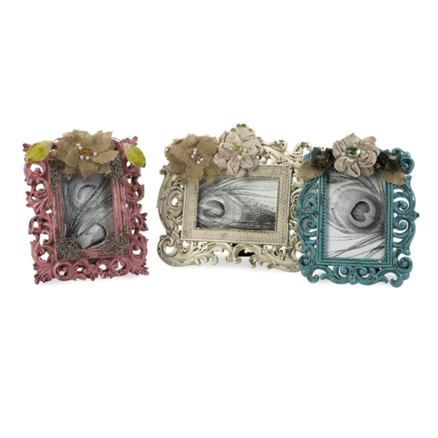 "Set of 3 Decadently Styled Floral Burlap 4"" x 6"" Photo Picture Frames"