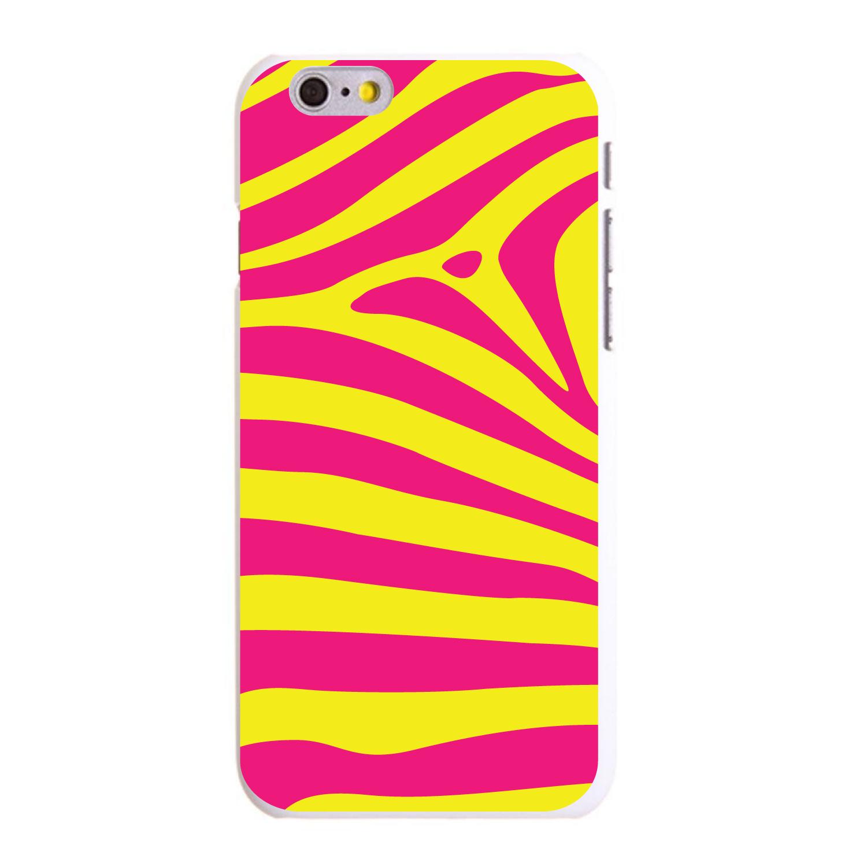 "CUSTOM White Hard Plastic Snap-On Case for Apple iPhone 6 / 6S (4.7"" Screen) - Yellow Hot Pink Zebra Skin Stripes"