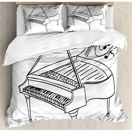 Music Note Duvet Cover Set, Monochrome Style Outline Drawing of a Piano on a Plain Background, Decorative Bedding Set with Pillow Shams, Charcoal Grey and White, by Ambesonne ()