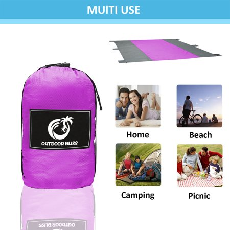 Outdoor Bliss Beach Blanket Sand Proof Picnic Blanket-Compact Water Proof Blanket,10'x9' Oversized- Best Mat for Picnic, Camping, Hiking and Music Festivals,Lightweight
