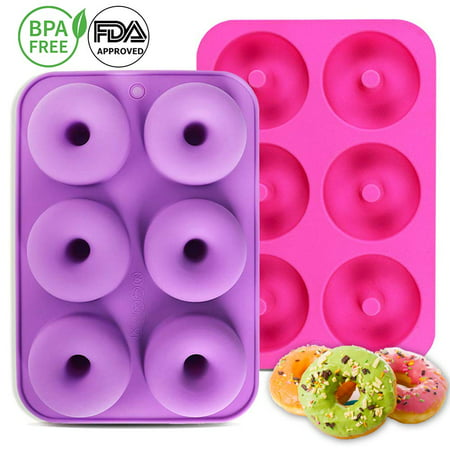 2-Pack Donut Baking Pan of 100% Nonstick Silicone. BPA Free Mold Sheet Tray. Makes Perfect 3 Inch Donuts. FDA Approved Food Grade. Easy Clean, Dishwasher Microwave Safe(Rose red & Light purple)