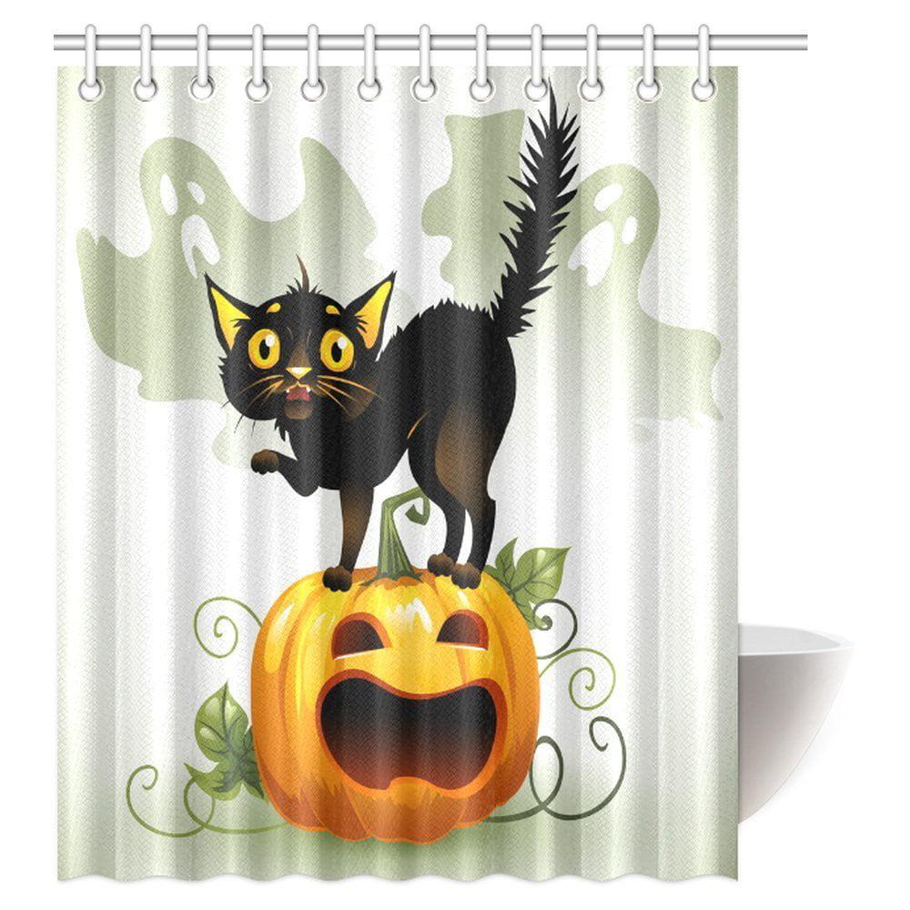 MYPOP Halloween Shower Curtain, Scared Black Cat On A