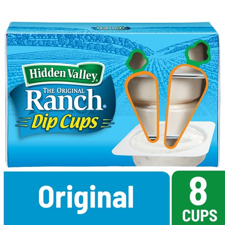 (2 Pack) Hidden Valley Original Ranch Salad Dressing To Go Cups - 1.5 Ozs Each - 8