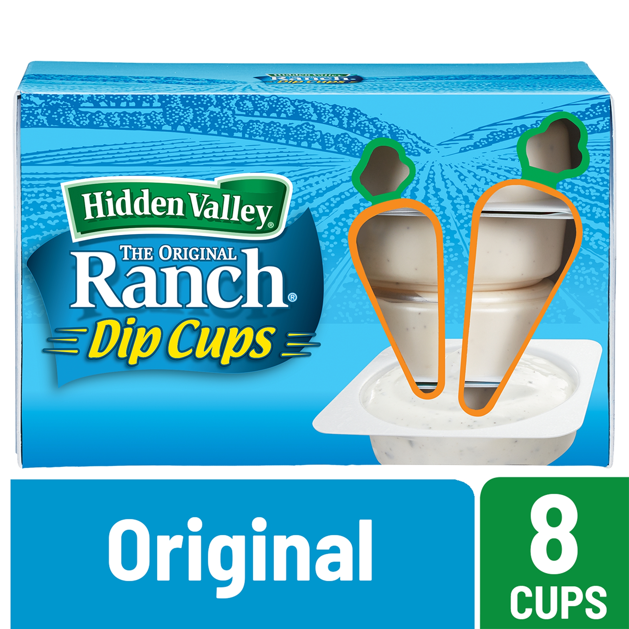 (2 Pack) Hidden Valley Original Ranch Salad Dressing To Go Cups - 1.5 Ozs Each - 8 Count