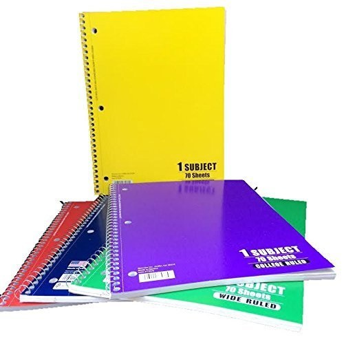 1 subject college ruled spiral notebook, 70 pages-5 colors-total 5 notebooks