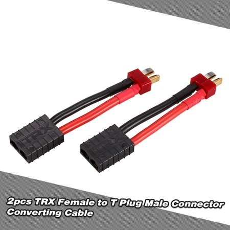 2pcs Female Connector to Male Deans T-Type Plug Ultra Adapter Wire Harness for Traxxas RC Car