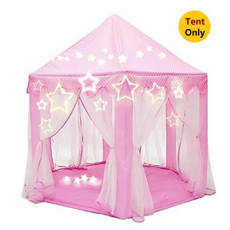 Princess Castle Tent with Large Star Lights String, Durable Girls Play Tent  for Indoor and Outdoor Games, Stimulate Pretend and Imaginative Play, Have