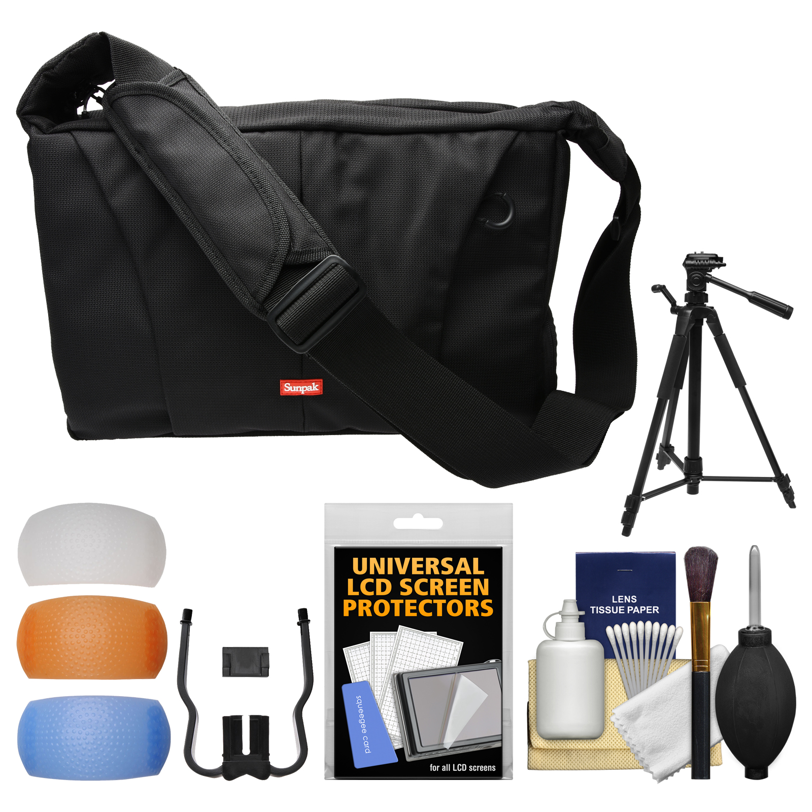 "Sunpak TravelSmart System DSLR Camera Case with Tripod Compartment & 58"" Tripod + Flash Diffuser Set + Kit"