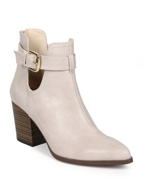 1d8c7d64dcf Product Image New Women Qupid Tilt-03 Leatherette Pointy Toe Ankle Cutout Chunky  Heel Bootie