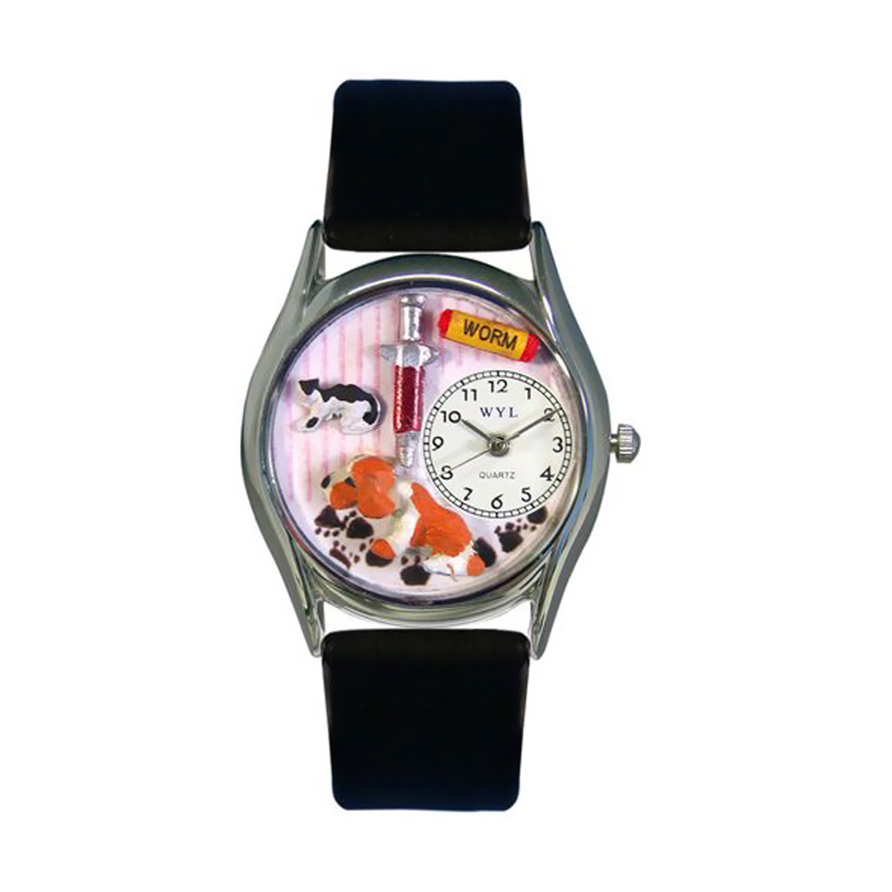 Whimsical Veterinarian Black Leather And Silvertone Watch