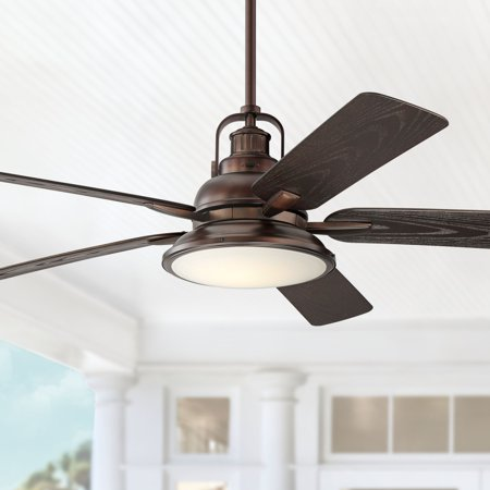 "60"" Casa Vieja Industrial Outdoor Ceiling Fan with Light LED Dimmable Remote Control Oil Brushed Bronze Wet Rated for Patio Porch"