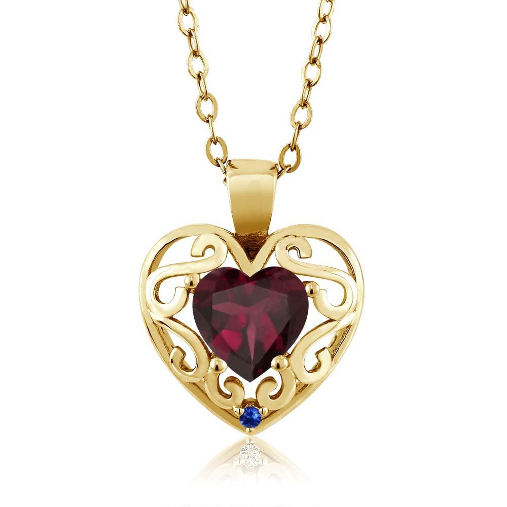 0.73 Ct Red Rhodolite Garnet Blue Sapphire Gold Plated Silver Pendant