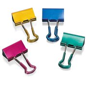 Officemate Easy Grip Medium Binder Clips, Assorted Metallic Colors, 6 Packs of 12 Clips Each (31054)