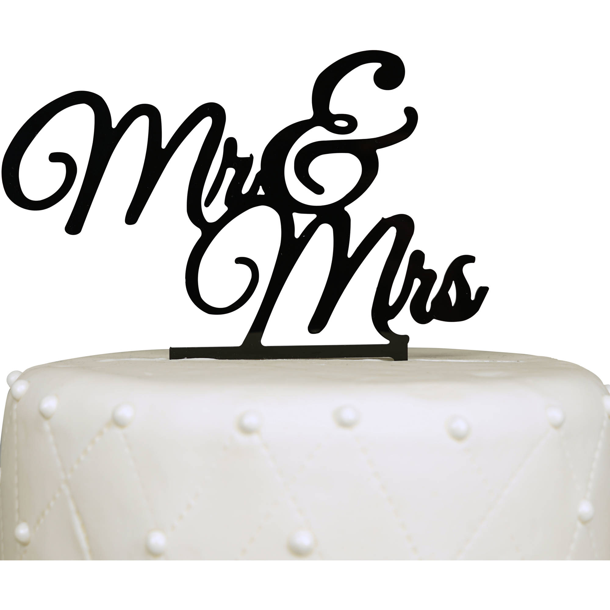 """Mr & Mrs"" Elegant Acrylic Cake Topper, Black"