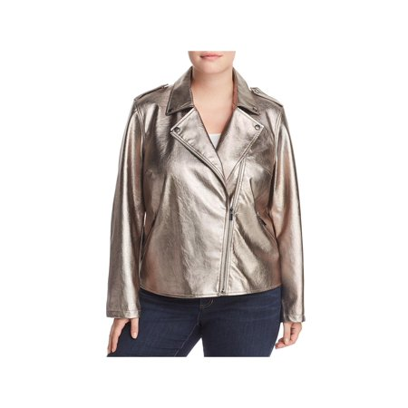 Gold Bagatelle Crystal - Bagatelle Womens Plus Metallic Faux Leather Motorcycle Jacket