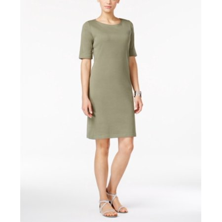 Karen Scott Boat-Neck Short-Sleeve Dress Olive Sprig M