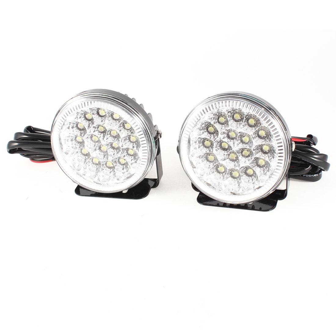 Unique Bargains Car Black Bracket Silver Tone White 17 LEDs Round Dome Lamp Decor DC 12V